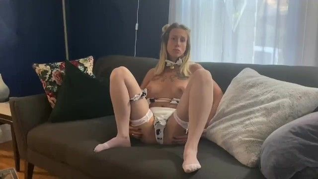 Hot halloween cow suit joi - filthy talk, large tits, small bikini, cum encouragement