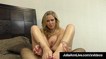 Sexy breasty milf julia ann milks a hard schlong in her face hole