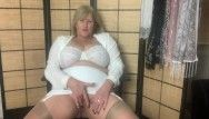 Sexy aged step mama in girdle and nylons fingers her moist cunt