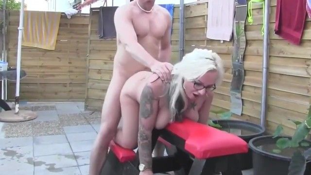 Curvy milf non-professional with glasses copulates lad at pool party