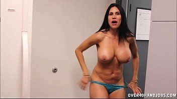 Breasty brunette hair milf cook jerking