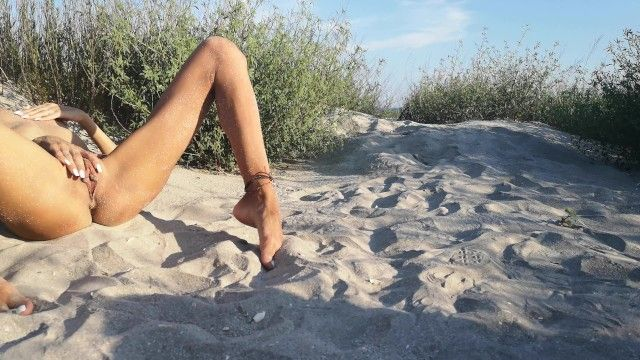 French nudist legal age teenager hides at the beach and plays with her tanned slender body