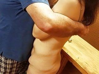 The slutwife undressed in the shed