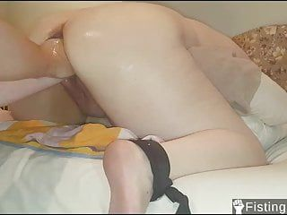 Fisting and stretching out my girlfriends loose soaked slit
