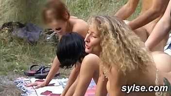 Milf and juvenile hunk in educate - fuckfest outdoor with two teens.