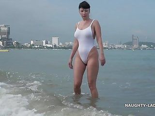 White one-piece transparent when soaked swimsuit