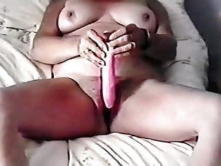Milf with large tits, masterbate with sex tool